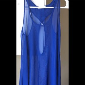 Dresses & Skirts - Unique Royal blue sheer high low dress or top